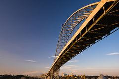 Longest arched bridge Fremont Portland Oregon Willamette River. The longest in Europe and America arched Fremont Bridge Portland Oregon Willamette River. Painted stock photo