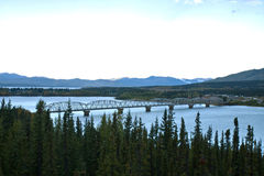 Longest bridge along the Alaska Highway at Teslin Stock Photography