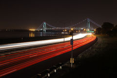 The longest bridge in New York City. The Verrazano-Narrows Bridge connects the New York City boroughs of Staten Island and Brooklyn. It's a double-desked stock photography