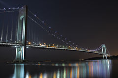 The longest bridge in the New York City. The Verrazano-Narrows Bridge connects the New York City boroughs of Staten Island and Brooklyn. It's a double-desked royalty free stock image