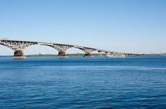 Longest bridge in Saratov city Royalty Free Stock Photo
