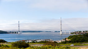 Longest cable-stayed bridge in the world in the Russian Vladivos Royalty Free Stock Images