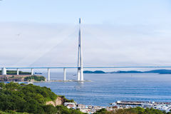 Longest cable-stayed bridge in the world in Vladivostok Royalty Free Stock Photo