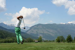 Longest Drive 2. Golfer on the tee looking after his shot stock images