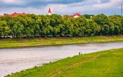 Longest european linden alley in Uzhgorod Stock Photo
