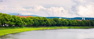 Longest european linden alley in Uzhgorod panorama. Panorama of longest linden alley in europe. Summer landscape on the river embankment in Uzhgorod, Ukraine Stock Photos