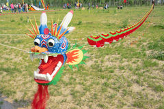 Longest kite. The dragon head longest kite is ready to fly Stock Image