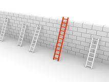 Longest ladder. Several ladders with different length leaning the brick wall. 3d rendering Stock Photos