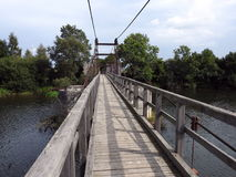 Hanging footbridge, Lithuania Stock Images