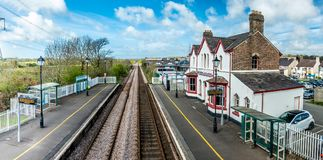 The longest place name of the UK, llanfairpwllgwyngyllgogerychwyrndrobwllllantysiliogogogoch on the public train station.  royalty free stock photo