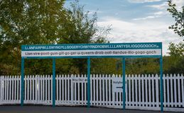 The longest place name of the UK on a sign Royalty Free Stock Photography