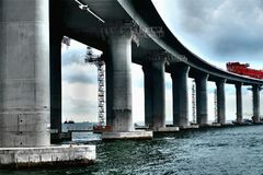 The longest sea bridge being built royalty free stock image