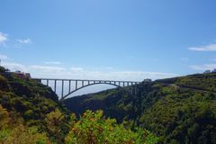The longest single span bridge in Europe crossing the valley leading from Los Tilos in Canary islands near to Los Sauces, La Palma. The longest single span stock images