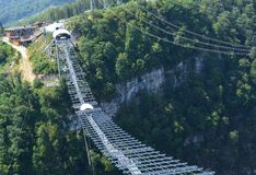Longest suspended pedestrian bridge across the gorge royalty free stock photography