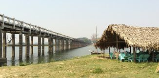 The longest teak bridge in the world, Amarapura Royalty Free Stock Images