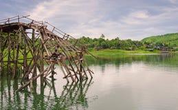 Longest wooden bridge it broken in Thailand Stock Photo