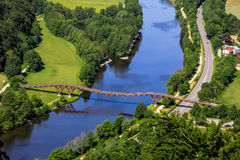Longest wooden bridge in Europe- Essing, Bavaria, Germany-river Altmuehl. Top view from castle Randeck of longest wooden bridge in Europe- Essing, Bavaria Royalty Free Stock Images