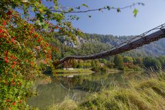Wooden bridge in Essing - Altmühltal, Bavaria royalty free stock photography