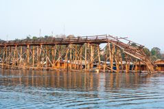 The longest wooden bridge and floating Town in Sangklaburi Kanch Royalty Free Stock Photo