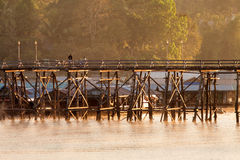 The longest wooden bridge with the morning light. Royalty Free Stock Photography