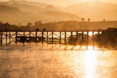 The longest wooden bridge with the morning light. Royalty Free Stock Photo