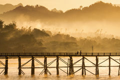 The longest wooden bridge with the morning light. Royalty Free Stock Images