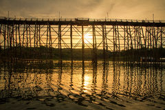 The longest wooden bridge with the morning light. Stock Images