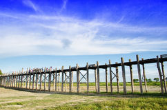 Longest wooden bridge   myanmar  asia Stock Photos