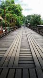 Longest wooden bridge in Sangklaburi Thailand Royalty Free Stock Photo