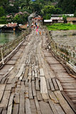 The longest wooden bridge in Thailand Royalty Free Stock Image