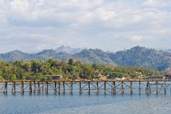 Longest wooden bridge in Thailand Royalty Free Stock Photography