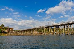 Longest wooden bridge in Thailand Royalty Free Stock Photos