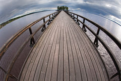 The longest wooden bridge. Travel Scandinavia, Rattvik, the longest wooden bridge Royalty Free Stock Photography
