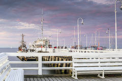 The longest wooden pier in Europe Stock Images