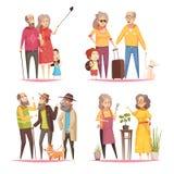 Longevity 2x2 Design Concept. With elderly people leading an active lifestyle cartoon vector illustration Stock Photos