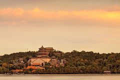The Longevity Hill in the snow and the Kunming Lake royalty free stock photos
