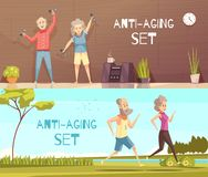 Longevity Horizontal Banners. With two elderly couples busy in fitness and jogging cartoon vector illustration Royalty Free Stock Photo