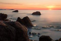 Longexposure seascape захода солнца Стоковые Изображения