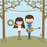 Longhaired girl with tambourine and bearded boy with guitar vector illustration