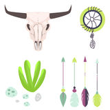Longhorn cow skull head vector illustration Stock Photography