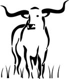 Longhorn die zich in gras bevindt Vector Illustratie