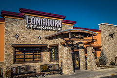 Longhorn Steakhouse Main Entrance. Harrisburg, PA - January 1, 2017: Longhorn Steakhouse is a casual dining restaurant chain serving steaks and other western royalty free stock photography