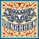 Longhorn uitstekend westelijk vectorontwerp royalty-vrije illustratie