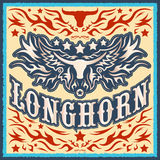 Longhorn vintage western vector design Royalty Free Stock Photography