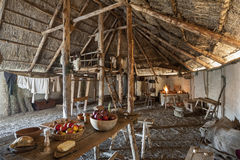 The Longhouse. The interior of the typical manor longhouse, in the Medieval Village of Poggio Bonizio, Poggibonsi, Italy royalty free stock photos