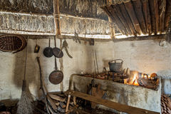 The Longhouse. The interior of the typical manor longhouse, in the Medieval Village of Poggio Bonizio, Poggibonsi, Italy stock photography