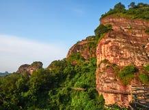 Danxia Landform of Longhu Mountain. Longhu Mountain, a typical Danxia landform, is located in Yingtan City, Jiangxi Province. also a famous Taoism mountain stock images