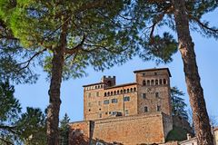 Longiano, Forli-Cesena, Emilia-Romagna, Italy: the medieval Mala. Testa castle of the ancient village on the hill Royalty Free Stock Photography