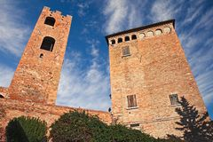 Longiano, Forli-Cesena, Emilia-Romagna, Italy: the medieval Mala. Testa castle of the ancient village on the hill Royalty Free Stock Photo