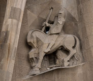 Longinus perçant le côté du ` s du Christ Images stock